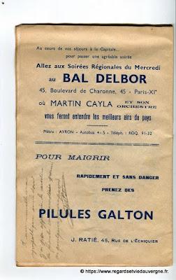 La Bourrée du Massif Central, programme 1938, Bal Delbor, Paris, Pilules Galton.
