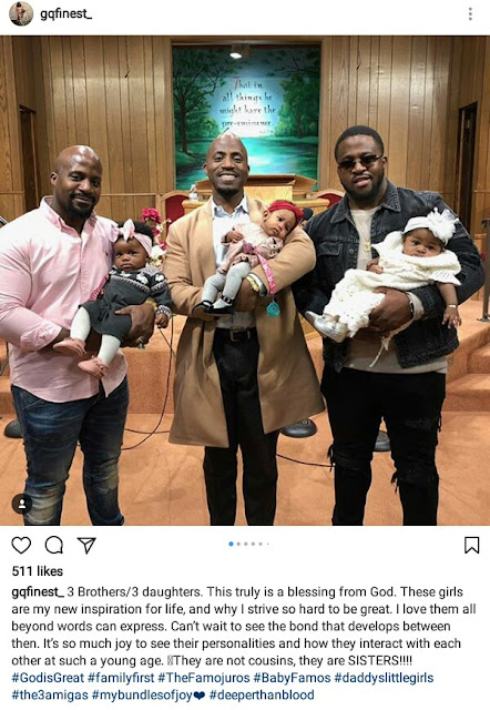 Beautiful photo of three Nigerian brothers holding their 3 little daughters