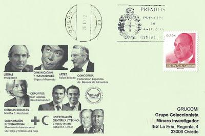 rodillo, filatelia, tarjeta, premio, Príncipe de Asturias