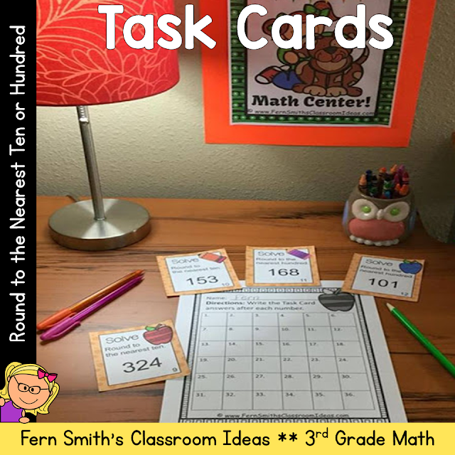 You will love how easy it is to prepare these task cards for your centers, small group work, scoot, read the room, homework, seat work, the possibilities are endless. Your students will enjoy the freedom of task cards while learning and reviewing important skills at the same time! Perfect for review. Students can answer in your classroom journals or the recording sheet. Perfect for an assessment grade for the week. Rounding to the Nearest Ten or Hundred: Task Cards and Recording Sheet - Rounding to the Nearest Ten or Hundred 3.NBT.A.1. {Rounding to the Nearest 10 or 100} Perfect for 3rd Grade Go Math Chapter One Lesson 1.2.