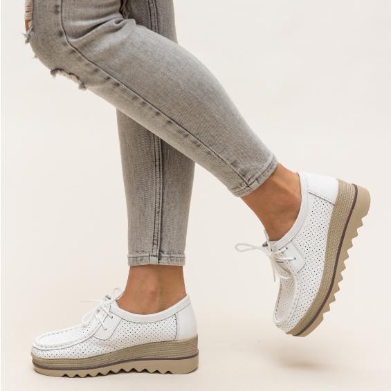 Pantofi casual de dama albi cu talpa groasa din piele naturala