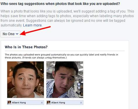 disable tagging suggestion on facebook