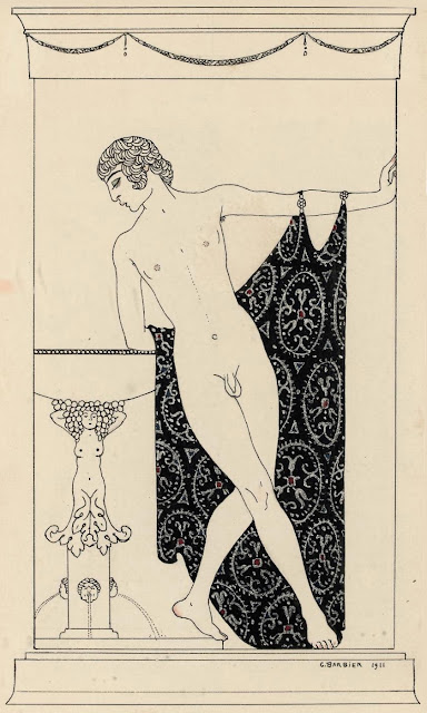 Nijinsky in Narcisse (1911)  Georges Barbier (French, 1882-1932)  Ink, gouache and silver on paper  25 x 15.3 cm.