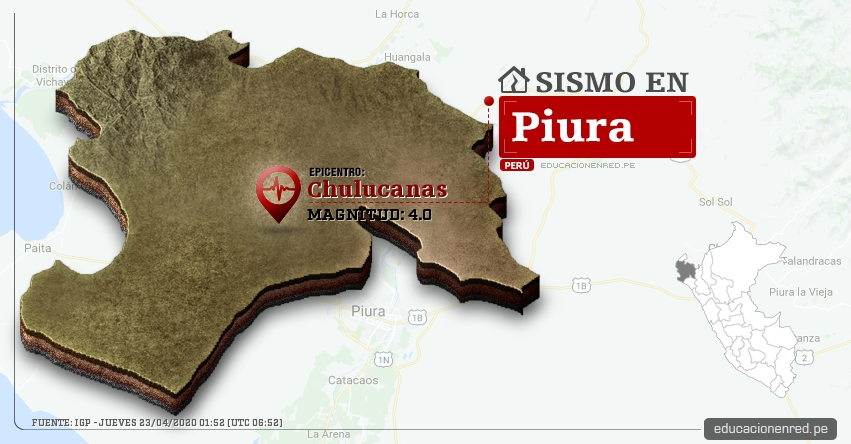 Temblor en Piura de Magnitud 4.0 (Hoy Jueves 23 Abril 2020) Sismo - Epicentro - Chulucanas - Morropon - IGP - www.igp.gob.pe