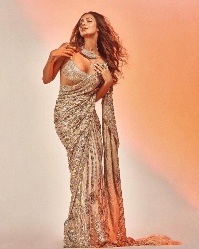 Pics talk of the day: Malaika Arora achieves Elegantly during a Gleaming Golden Saree