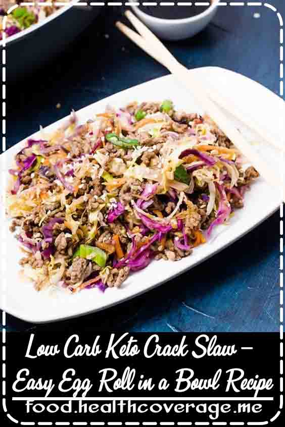 This Low Carb Keto Crack slaw is seriously addictive, so delicious, and easy to make. It will become a staple week-night keto dinner at your house. Enjoy a tasty egg roll in a bowl that's ready in 15 minutes, with simple low carb ingredients.