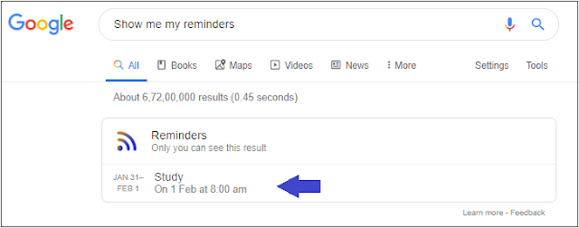 Check your Google Reminder from browser