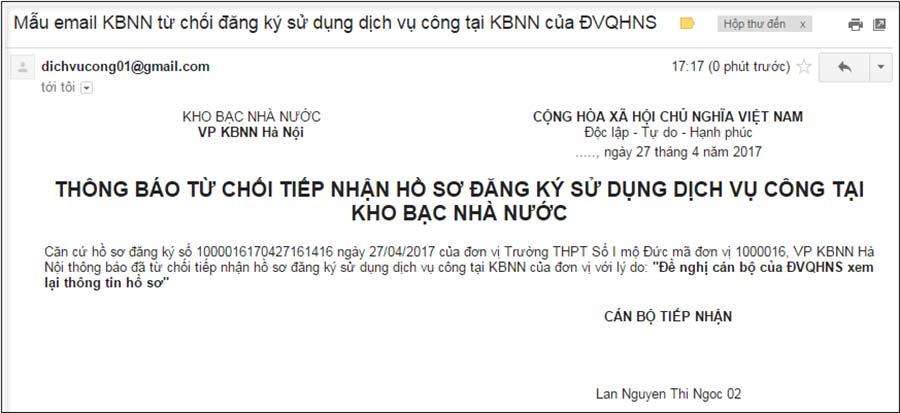 Hình 35 - Hồ sơ đăng ký tham gia DVCTT bị KBNN từ chối