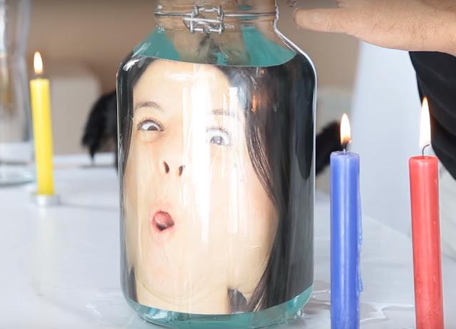 cabeza, cara, fotografia, tarro, cristal, agua
