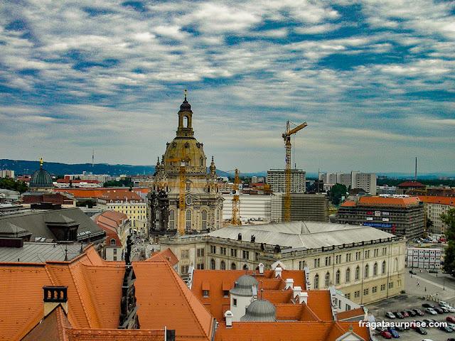 Dresden vista da torre do Burghof (castelo)