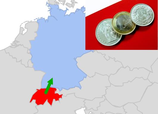 Karte Deutschland - Schweiz Einkaufstourismus starker Franken