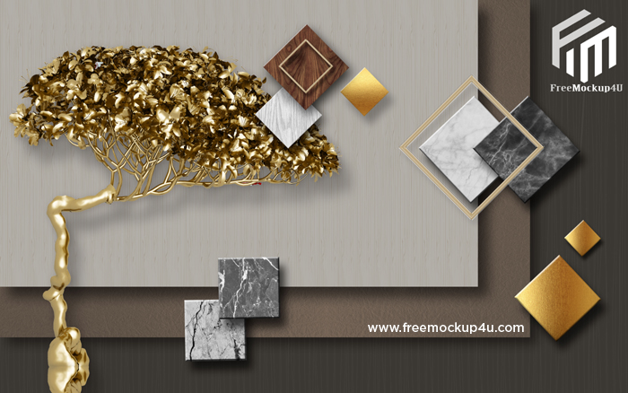 Modern Fashion 3D Stereo Golden Fortune Tree Gold Foil Geometric Background Wall