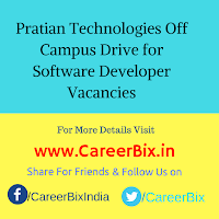 Pratian Technologies Off Campus Drive for Software Developer Vacancies