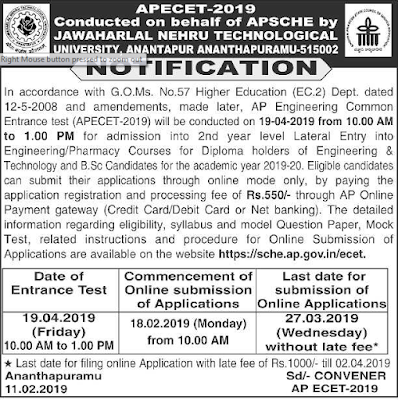 Andhra Pradesh AP ECET Notification 2019-Engineering Common Entrance Test for B.TECH B.PHARMACY Courses Exam Application Form