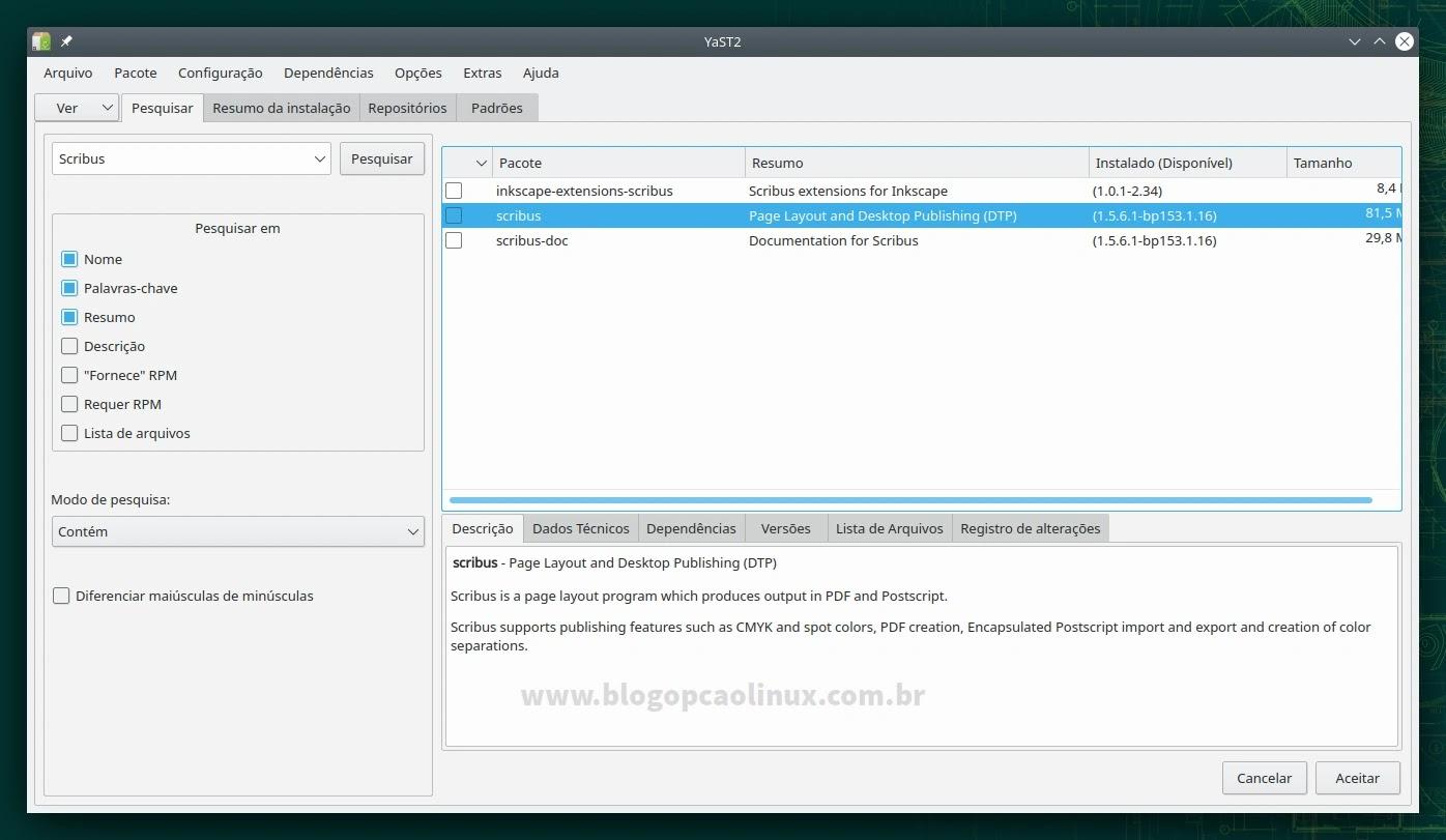Gerenciamento de Software do YaST - openSUSE Leap 15.3