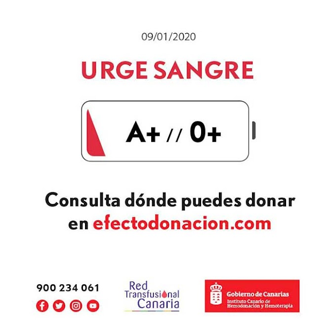 Se necesita sangre urgente en Canarias, grupos A y 0 positivo