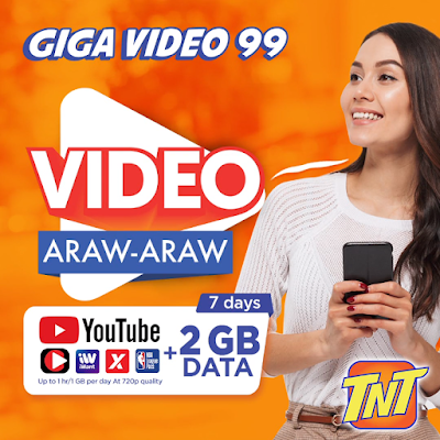 TNT Giga Video 99 : 2GB Data + free 1GB Video Everyday (YouTube, iWant) for 7 days