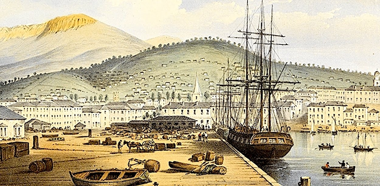 Convict ship berthed at Hobart