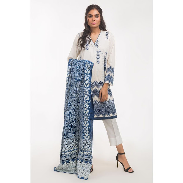 Gul Ahmed ready to wear solid light blue color collection