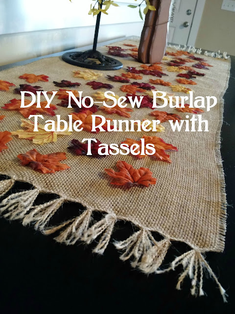 DIY No-Sew Burlap Table Runner with Tassels--Make this easy burlap table runner.  No sewing required!
