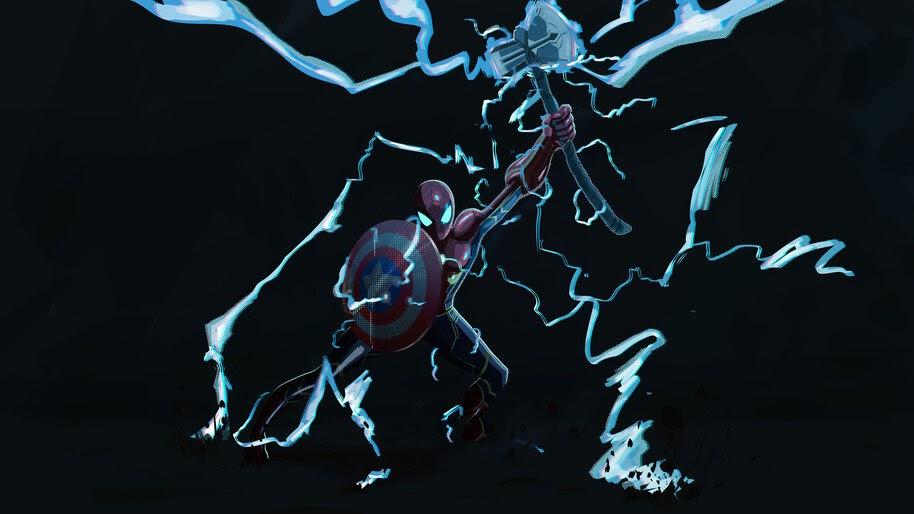 Spider-Man, Captain America Shield, Stormbreaker Axe, 4K, #6.415