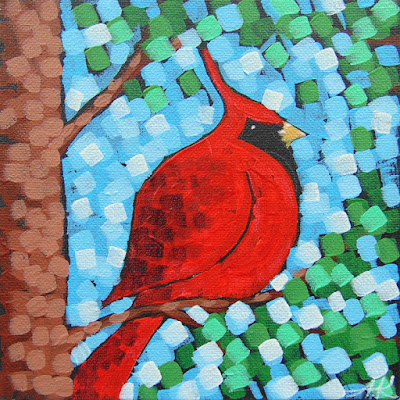 Treetops No. 1 and 2, acrylic cardinal landscape painting by duluth artist aaron kloss