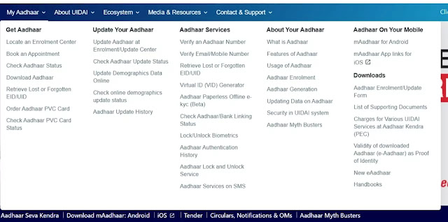 Aadhhar PVC card Order section