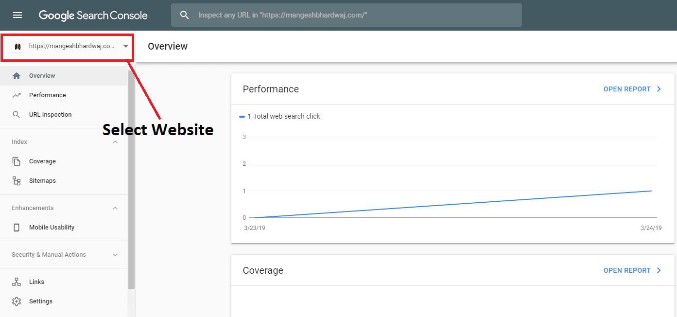 ign in Your Google Search Console and select the site for which you have to submit your sitemap