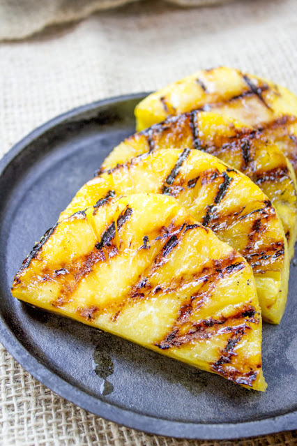 grilled pineapple on a plate
