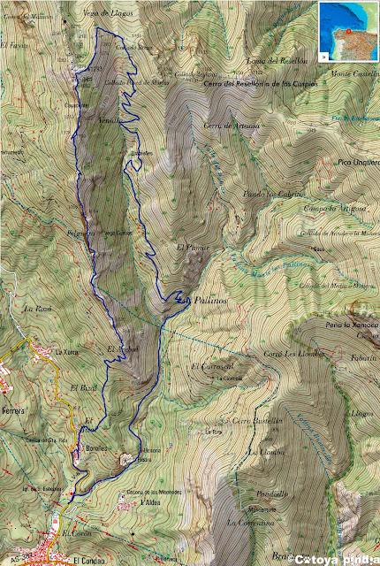 Mapa IGN de la ruta señalizada a la Sierra de Peñamayor desde El Condado en el concejo de Laviana.