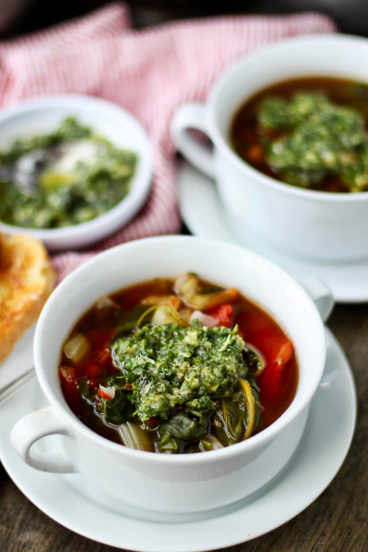 Swiss chard soup with pesto on top.