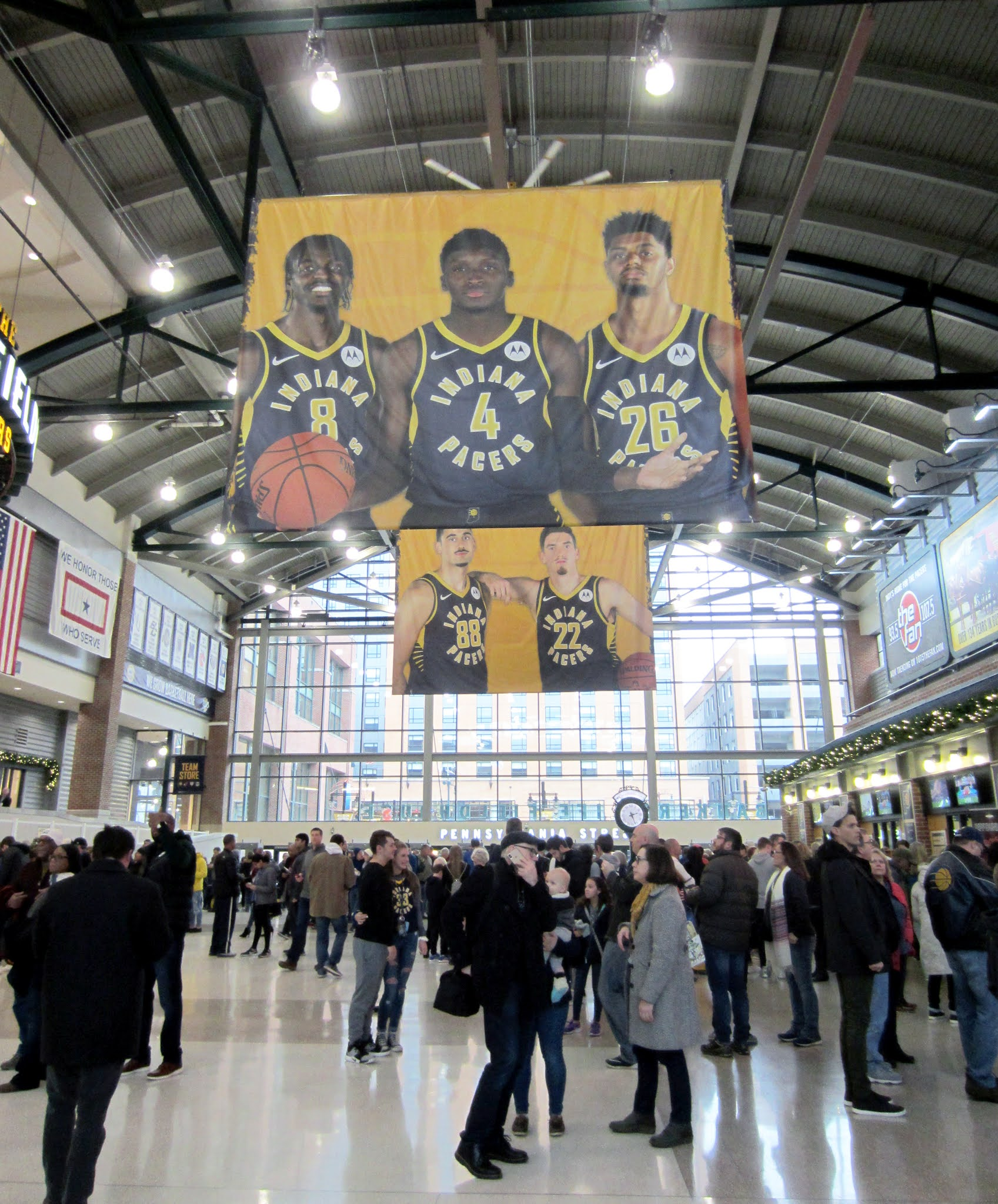 Inside the main atrium at Bankers Life Fieldhouse