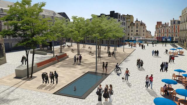 Le cœur de la place accueillera des arbres de grande hauteur, au-dessus de la station de métro souterraine | DR