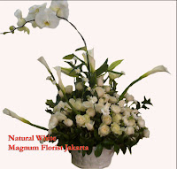 Rangkaian Bunga Mawar Putih dan Anggrek Bulan