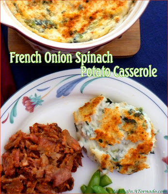 French Onion Spinach Potato Casserole is a flavorful side dish perfect for company and easy enough for an everyday family dinner. | Recipe developed by www.BakingInATornado.com | #recipe #casserole