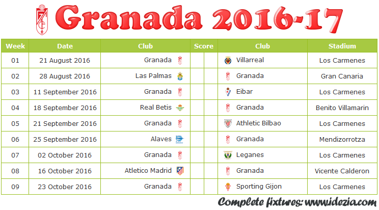 Download Jadwal Granada CF 2016-2017 File JPG - Download Kalender Lengkap Pertandingan Granada CF 2016-2017 File JPG - Download Granada CF Schedule Full Fixture File JPG - Schedule with Score Coloumn