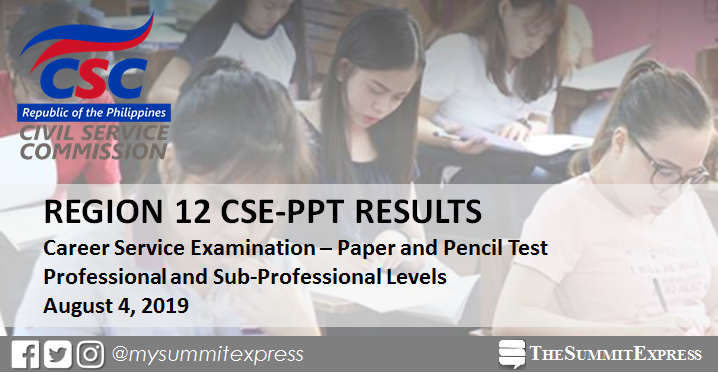 CSC releases August 2019 civil service exam result Region 12