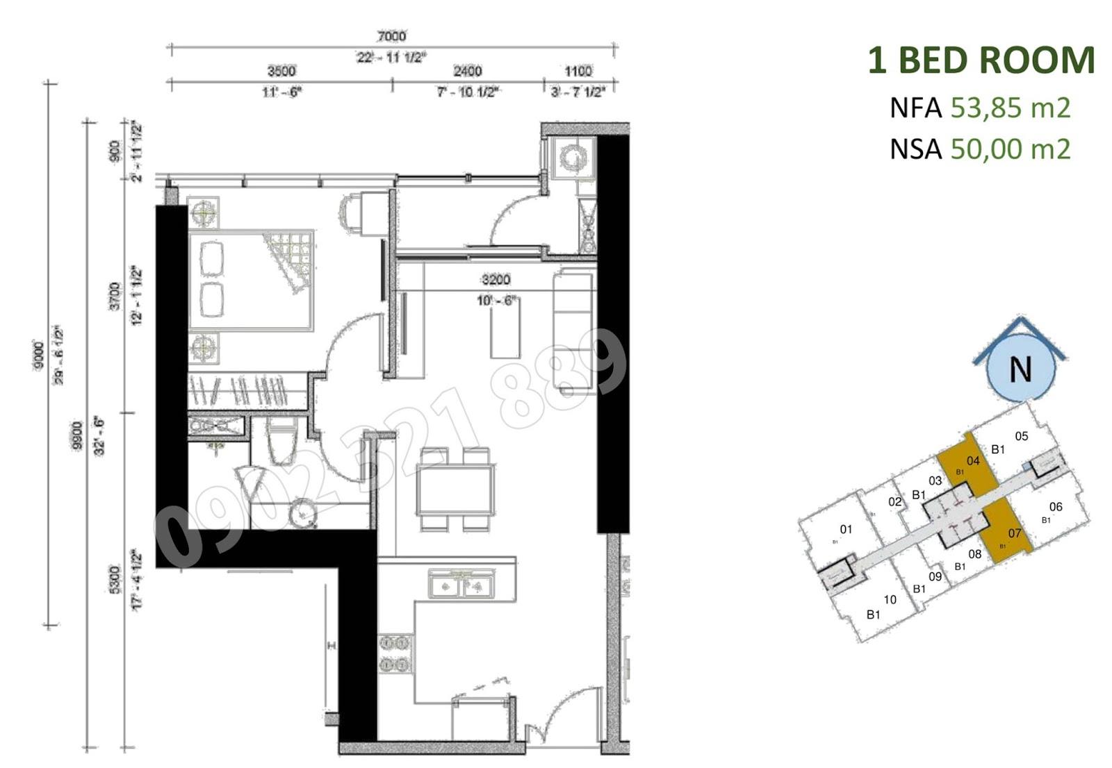 mặt bằng căn hộ sunwah pearl 1 phòng ngủ B1-04 và B1-07