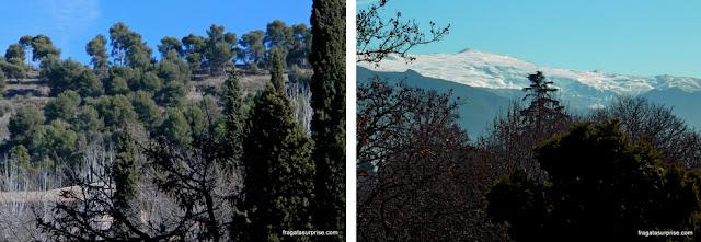 A Sierra Nevada, em Granada, vista do terraço do Hotel Alixares