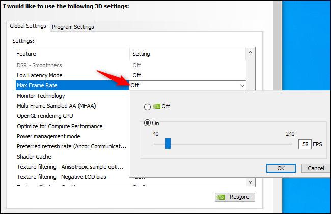 رفع معدل الإطارات الأقصى برامج NVIDIA