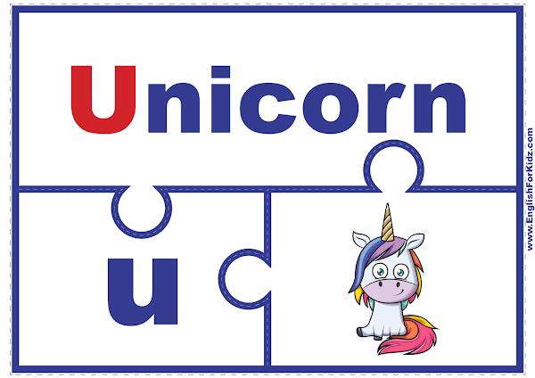 Letter U matching puzzle - printable English alphabet learning activity