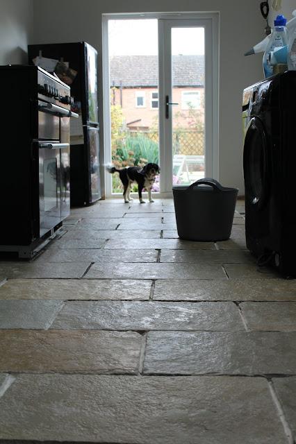 budget limestone floor in kitchen