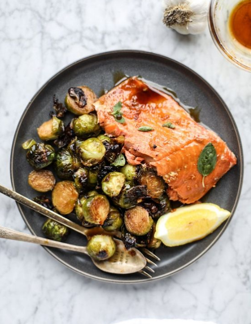 HONEY GARLIC SALMON WITH BRUSSELS