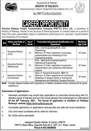 Ministry Of Railways Jobs 2021 in Pakistan - Latest Govt Jobs 2021