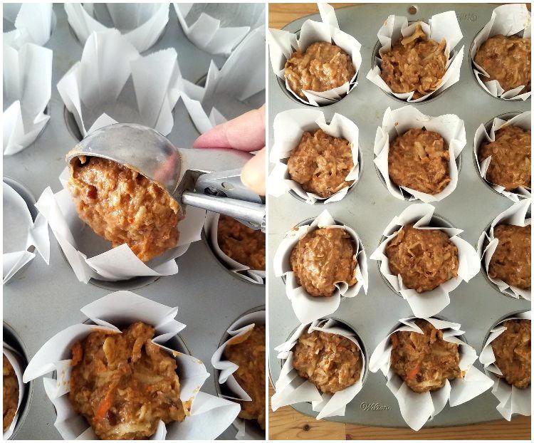 Preparando los muffins para hornear, agregando la mezcla a los capacillos. Collage de 2 fotos