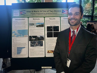 Posing at the 2019 Appalachian State University Energy Conference. Andrew Polich in front of his poster.