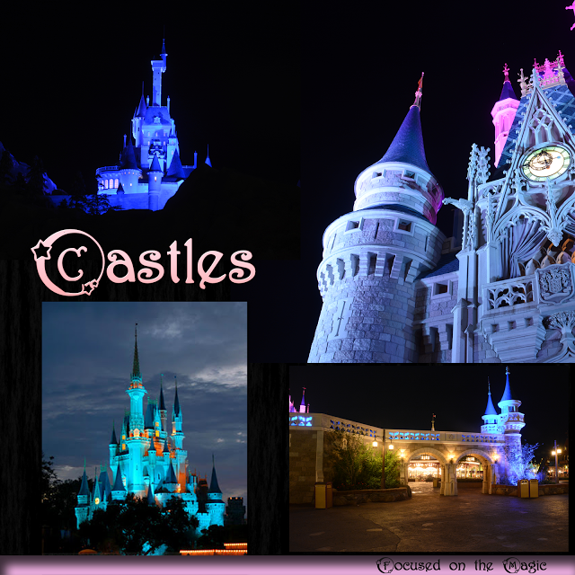 Cinderella Castle, Beast's Castle in New Fantasyland and the turrets of New Fantasyland's entrance at night.