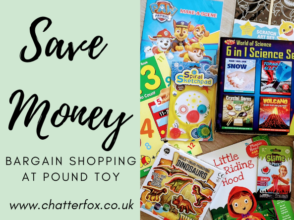 Image title reads 'save money bargain shopping at pound toy www.chatterfox.co.uk image to the right shows a collection of cheap fun and educational toys and books available from pound toy