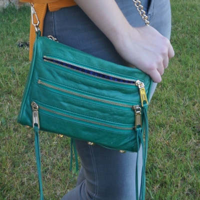 grey jeans with Rebecca Minkoff emerald green mini 5-zip rocker bag | away from the blue
