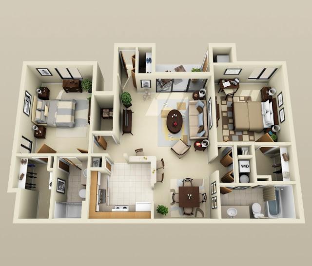 Denah Rumah Minimalis 2 Kamar 6x8